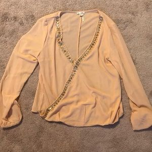 Beige blouse with beading, size Large